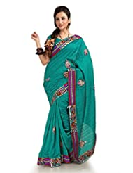 Designersareez Women Bhagalpuri Silk Embroidered Teal Saree With Unstitched Blouse(1156)