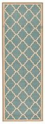 Prestige Collection Teal Blue Contemporary Moroccan Trellis Design Runner Rug (20\