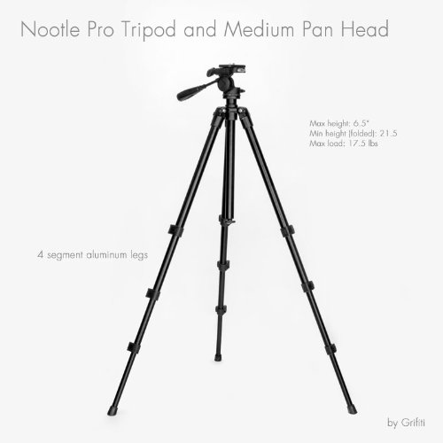 Grifiti Nootle Pan Head Video Tripod And Travel Case Works For Nootle Ipad Tripod Mounts And Other 1/4 20 Threaded Ipad Mounts, Tablet Mounts, Gps, And Cameras Perfect For Sports, Outdoors, Display And Travel Videos And Photos