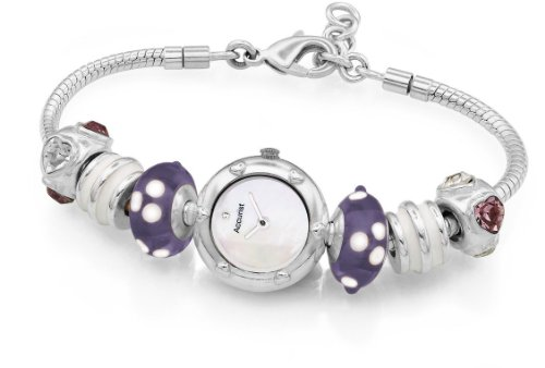 Accurist Ladies Silver Plated Charmed Watch Purple Secret LB1600HS Heart Beads