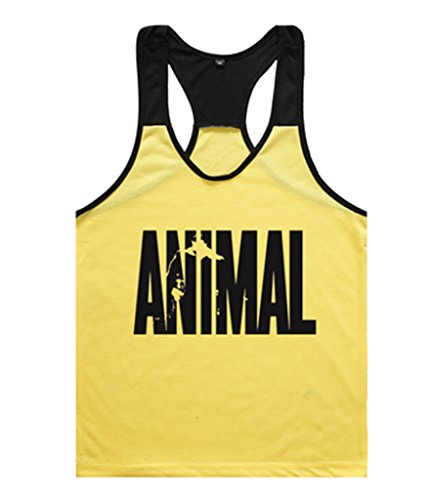 Haodasi Animal Tank Tops Canotte Men's Singlets Bodybuilding Vest Fitness Bodybuilding Stringers Color Yellow w/Black Size L