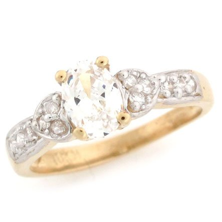 10K Solid Yellow Gold Oval CZ Heart Promise Ring