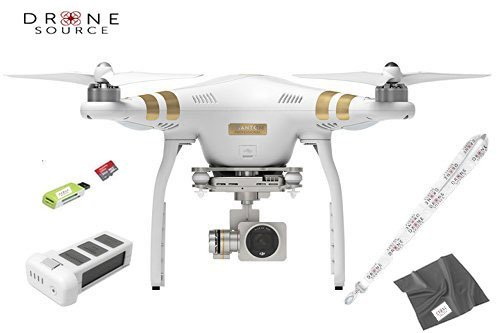 DJI Phantom 3 Professional Quadcopter Drone Including Extra Battery, Drone Source Lanyard, Camera Lens Cloth, and Sd Card Reader.