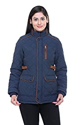 Trufit Full Sleeves Solid Women's Navy Quilted Cotton Parka Jacket with Patch Pockets
