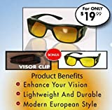 HD Vision Wraparounds Sunglasses/Night Vision Glasses Combo Pack