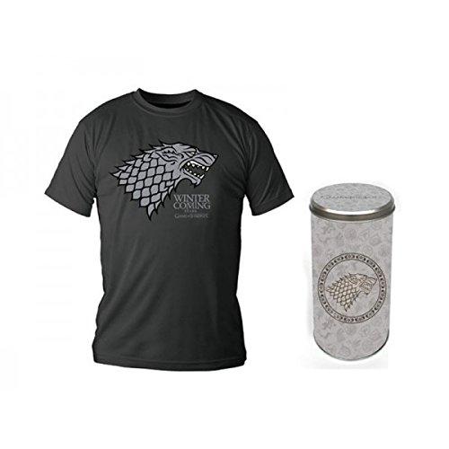 Juego-de-tronos-camiseta-de-la-casa-Stark-con-el-escudo-del-lobo-huargo-algodn-verde-oliva