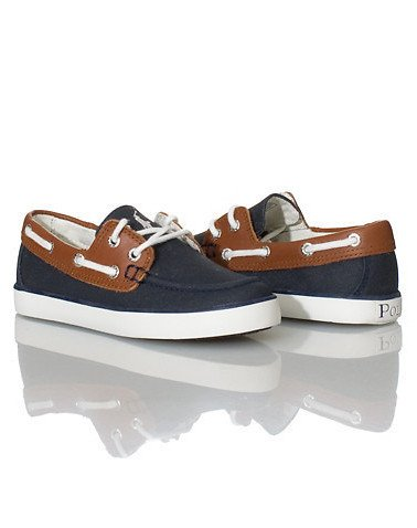 reallabels.com Ralph Lauren Kids' Youth Sander Boat Shoes Navy with leather