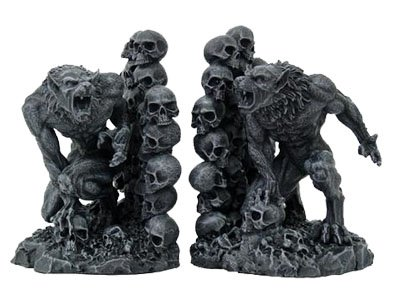 Werewolves & Skulls Fantasy Set of Bookends
