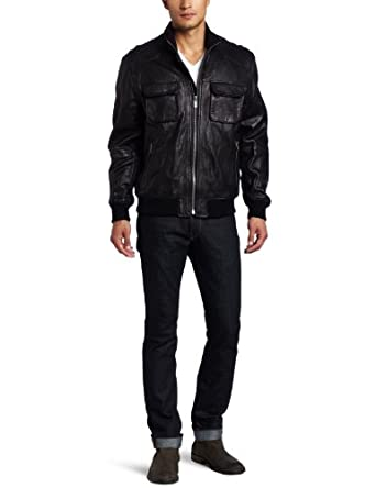 Michael Kors Men's Hoover Leather Jacket, Black, Small