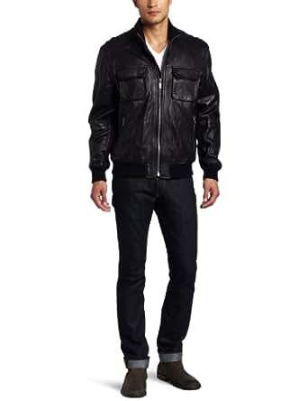 Michael Kors Men's Hoover Leather Jacket, Black, Small