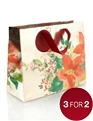 Festive Blooms Medium Christmas Gift Bag