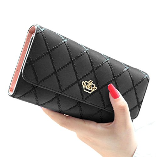 Tonsee Fashion Lady's Clutch Long Purse Leather Wallet (Black)