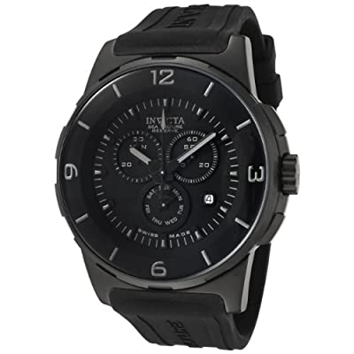 Invicta Men's 0474 Reserve Collection Sea Vulture Chronograph Black Polyurethane Watch