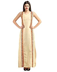 new 2016 designer collection Solid and Geometric Print Beige Bhagalpuri Silk Party wear Round Neck Sleeveless 1 piece maxi gown dress from FashionVerb