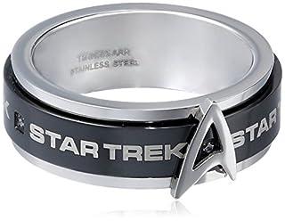 Star Trek Stainless Steel White Cubic Zirconia Spinner Ring, Size 11