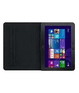 DMP Executive Leather Flip Case For HP Slate10 Tablet Front & Back Flap Cover Holder - Black