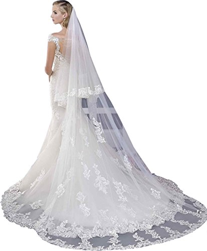 Newdeve 3M 2T White Bridal Veils Lace Edge Meter Long Free Comb (Ivory)