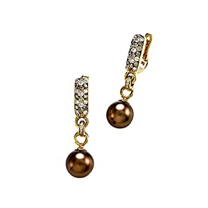 Carlo Viani South Sea Chocolate Pearl Earrings with Chocolate Diamonds