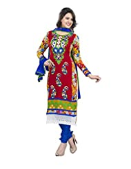 Surat Tex Red & Orange Color Embroidered Pure Georgette Semi-Stitched Salwar Suit