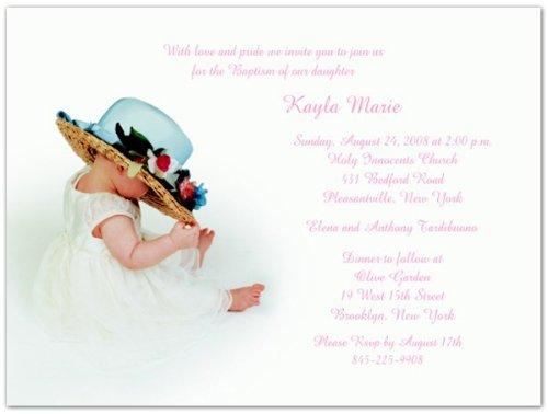 Hat & Flowers Baptism Christening Invitations - Set Of 20 front-1018530