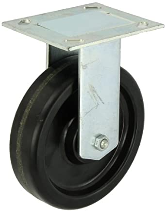 "E.R. Wagner Plate Caster, Rigid, Phenolic Wheel, Roller Bearing, 450 lbs Capacity, 6"" Wheel Dia, 1-1/2"" Wheel Width, 7-3/8"" Mount Height"