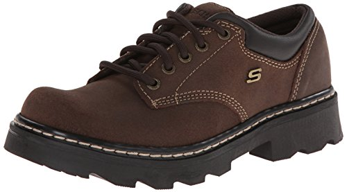 Skechers Women's Parties-Mate Oxford,Chocolate Suede Leather,8 M US