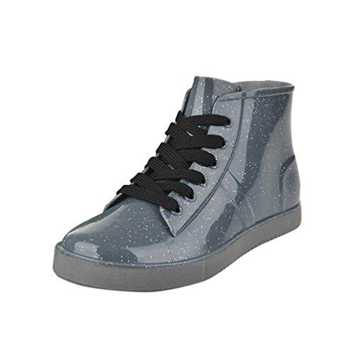 LvRao Donne Uomo Boots di Pioggia Impermeabile Stivaletti Caviglia Piane - Stivali di Gomma Stivaletti Con Laccio da Scarpe Gris Pour Femmes 38