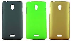 FCS Rubberised Hard Back Case For Oppo Joy R1001 in Matte Finish-Combo Of 3