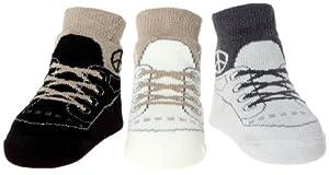 """Baby Emporio - 0-9 meses - 3 pares de calcetines para niño """"Zapatillas de deporte -Paz"""" - Suelas anti deslizantes - bolsa de regalo de organza de Baby Emporio"""