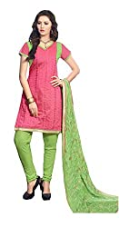 Radhika Shopping Women's Cotton Unstitched Dress Material (lucky-005_Pink_Free Size)