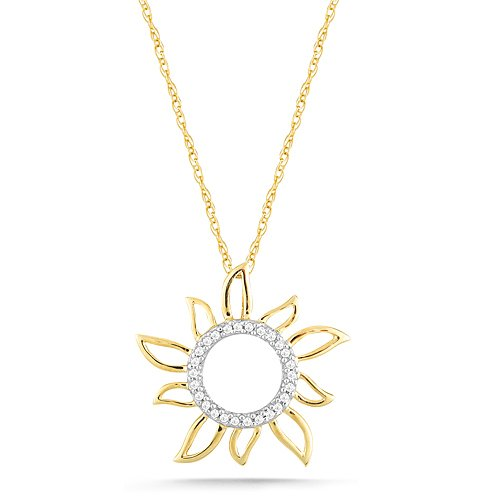 10k Yellow Gold Diamond Sun Pendant (0.08 cttw, I-J Color, I2-I3 Clarity), 18