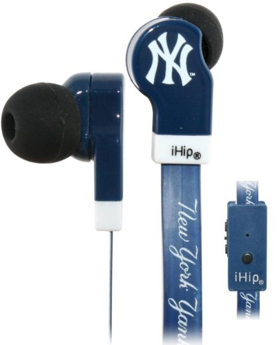 Ihip Mlb-Djz-Nyy Official Mlb New York Yankees Team Logo Flat Cord Earbuds With Built-In Mic