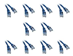 C&E Cat 5e 1.5-Foot Ethernet Patch Cable, Snagless/Molded Boot, 10-Pack, Blue (CNE50284)