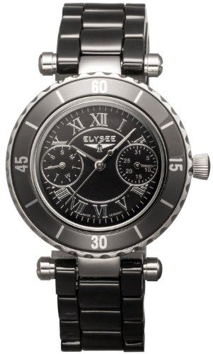 Elysee 30008 - Reloj analógico de mujer de cuarzo con correa de cerámica negra - sumergible a 50 metros