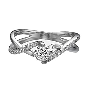 IGI Certified 14k white-gold Round Cut Diamond Engagement Ring (0.46 cttw, E Color, VS1 Clarity)