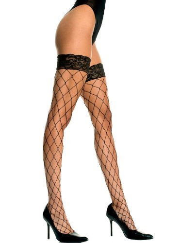 Sexy Spandex Fence Net Lace Top Thigh Highs