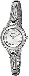 GUESS Women's U0135L1 Petite Vintage-Inspired Crystal-Accented Silver-Tone Watch