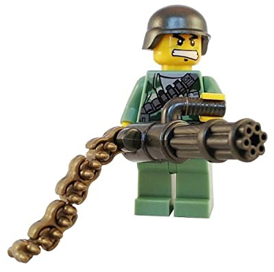 Minigun Soldier With Bullet Chain And Ammo Crate Heavy Military Support Chaingun Marine - Custom Lego Army Minifigure from Ender's Ark