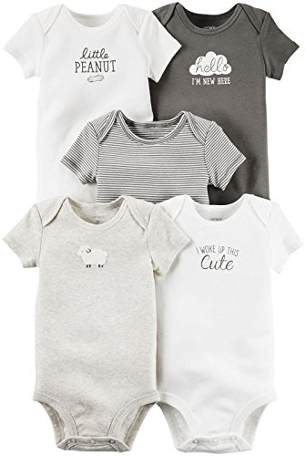 Carter's Unisex Baby Multi-Pack Bodysuits 126g250, Assorted, 3 Months