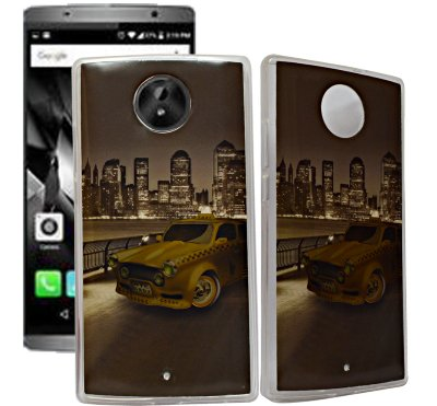 ECellStreet Exclusive Transparent Printed Soft Back Case Cover Back Cover For Micromax Canvas Mega 2 Q426 - Gold Car