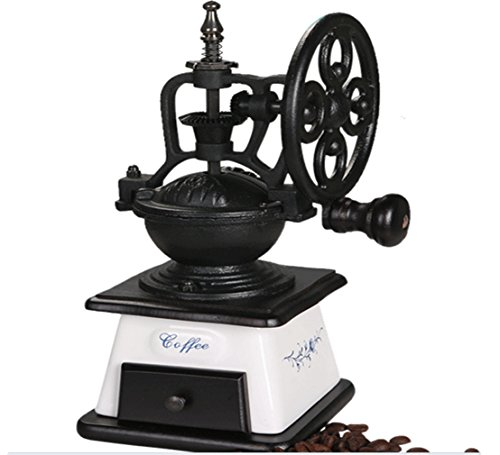 Global King Manual Ceramic Burr Coffee Grinder Coffee Bean Grinder Herb Mill, Hand-Crank Coffee Mill