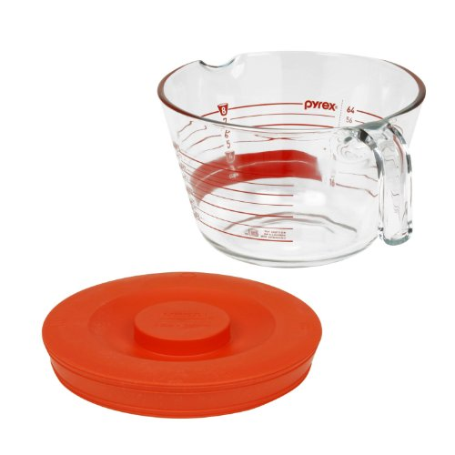 2 Pack Pyrex 8-Cup Measuring Cup With Red Plastic Cover, Read From Inside Graphics