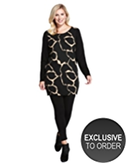 Plus Giraffe Print Knitted Tunic with Angora