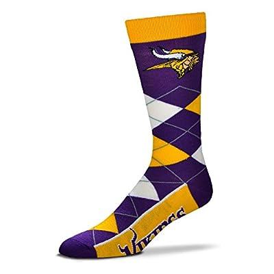 NFL Men's Minnesota Vikings Argyle Socks with Vikings At Bottom