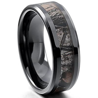 EOVE Jewelry 8MM Camouflage Hunting Mens Black Tungsten Ring Camo Step Edge Polished Wedding Band