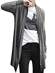 Allegra K Men Shawl Collar Pockets Long Sleeve Casual Long Cardigan Gray L