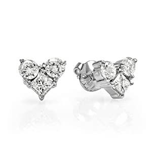 0.55 Carat (ctw) 14K White Gold Round & Princess White Diamond Heart Stud Earrings from DazzlingRock