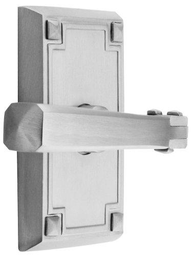 Craftsman Style Lever Door Set With Rectangular Rosettes Left Hand Privacy In Satin Nickel. Door Hardware. front-1025875