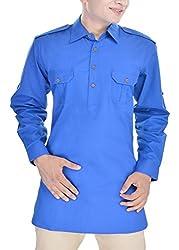 Padam Men's Pathani Kurta_PMKR0019_Royal Blue_L
