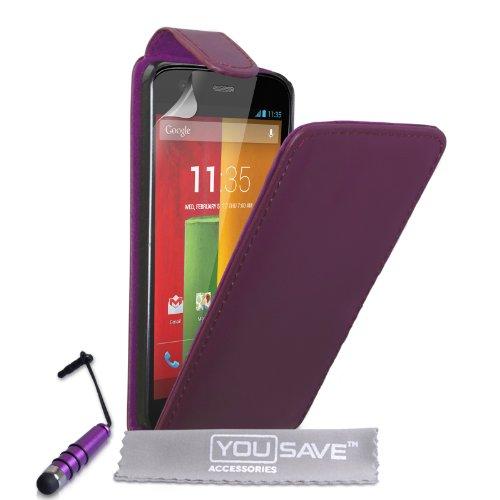 Yousave Accessories Schutzhülle aus PU Leder Flip Cover mit Mini Stylus Pen für Motorola Moto G-Violett